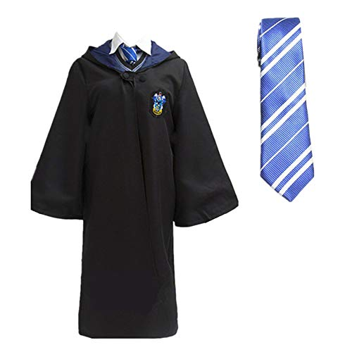 LOVCRY Halloween Umhang Karneval Kostüm Cosplay Zauberei Cape mit Krawatte (Blau, S) (Gryffindor Krawatte Und Schal)