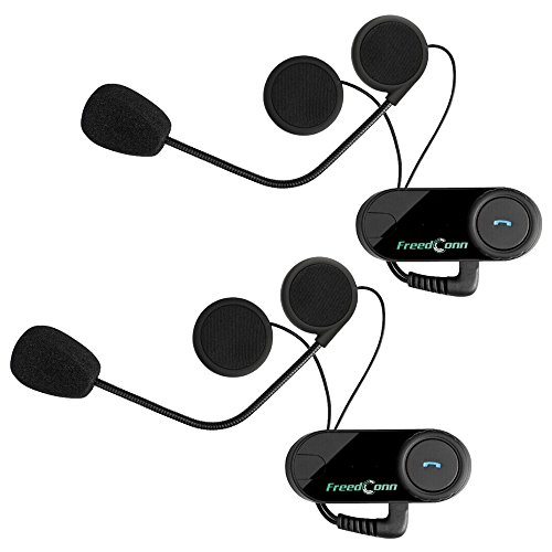 Motorradhelm Bluetooth Headset, docooler Freedconn T-COM VB Bluetooth Helm Intercom Headset 800M Bereich Freisprechsprech Unterstützung FM-Radio für Motorradfahrer Skifahrer (2 Stück)
