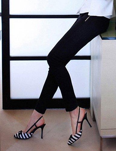 UWSZZ Die Sandalen elegante Komfort Frauen - Schuhe - Fersen - ein mandrin Seide - Mehrfarbig black and white