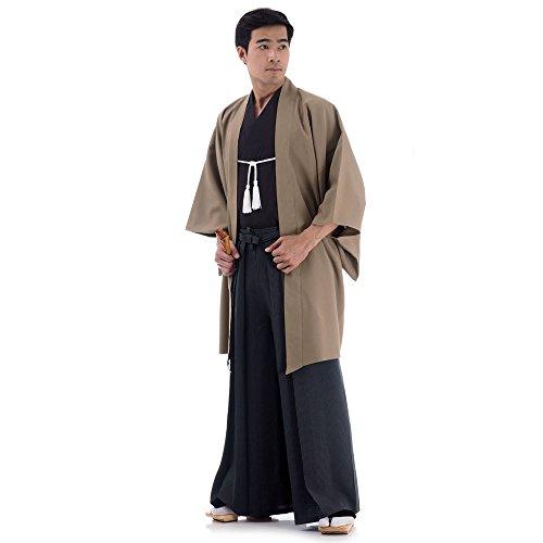 Cosplaymania Japan Samurai Kimono Set 3 Teile Kendo Gi + Hakama + Haori Baumwolle M L XL (Beige & Schwarz)