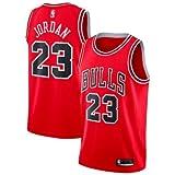 A-lee Men 's Jersey toros Vintage campeón de la NBA, Michael Jordan Jersey Chicago Bulls 23 El Jugador # Malla Jersey de Baloncesto (L, Rojo)