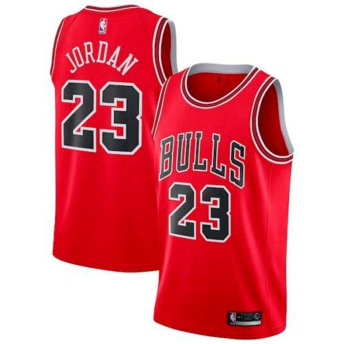 A-lee Trade Men's Jersey Bulls Vintage NBA Champion Michael Jordan Jersey Chicago Bulls #23 Mesh Basketbal (M, Rot)
