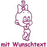 Windel Winni XL Babyaufkleber mit Name/Wunschtext - Motiv WW24 (25 cm)
