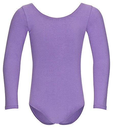 """tanzmuster Kinder Langarm Ballettanzug \""""Lilly\"""" mit rundem Hals- und Rückenausschnitt. Basic Ballett Trikot in lavendel, Größe:152/158"""