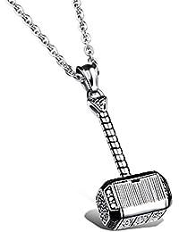 MESE London Martillo de Thor Vikingo Collar Plateado Plata Colgante Mjolnir 'God of Thunder' en Caja de Regalo Elegante