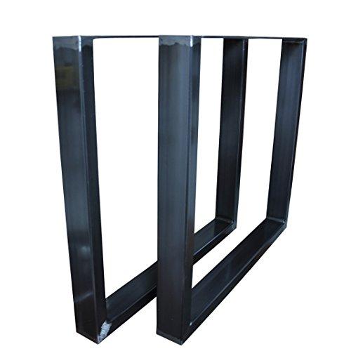 Tischgestell Rohstahl Design Industrielook Tischbeine Tischuntergestell Metall Stahl 1 Paar in versch. Größen Profil 80x40 mm (800x730)