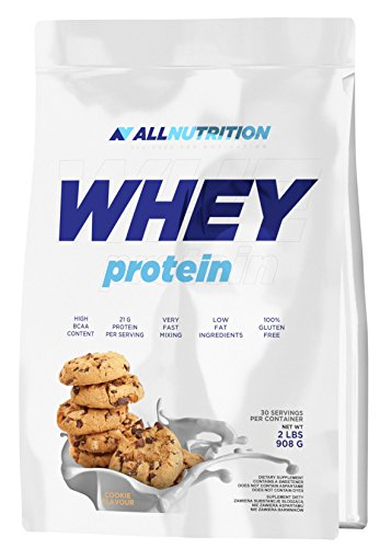 ALLNUTRITION Whey Protein Eiweiß Shake Molkeprotein Bodybuilding (908g White Chocolate Raspberry - Weiße Schokolade Himbeere) -