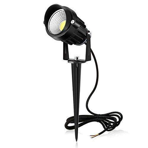 MK Gartenleuchte 850LM mit Erdspieß 7W LED Gartenstrahler IP66 wasserdicht Gartenbeleuchtung mit vertikal schwenkbarem Kopf Rasen Licht aus Alulegierung innen&außen für Baum, Wiese, Garten 6000K Tageslichtweiß