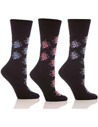 Womens Patterned Gentle Grip Sock By Sock Shop Honeycombe Loose Top 6 Pair Pack