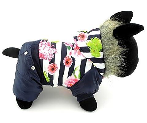ranphy Small Pet Schlafanzüge Hund Outfit Katze Kleidung Warm gefüttert Fleece Kunstfell Mantel mit Kapuze Jacke Jumpsuit Blumenmuster Gestreift