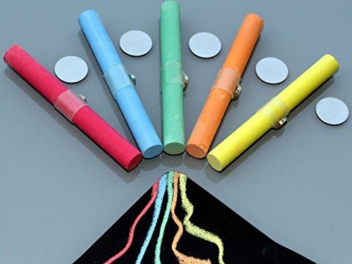 5 x Kreide / Tafelkreide BUNT mit Magnet + Halter, super für Tafelfolie-Board/Pinnwand (Kreide Board)