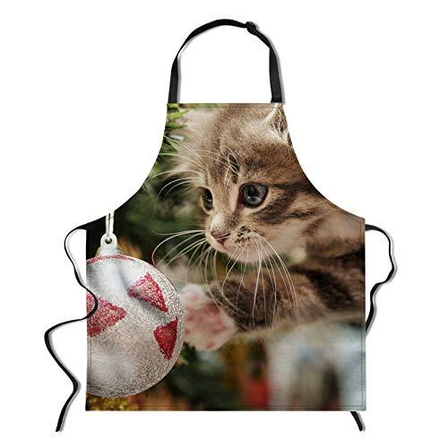 POLERO Küchenschürze Katzen Kochschürze Bedruckte Fun Grillschürze Spaß Schürze Weihnachten Schürze zum Kochen Backen Grillen