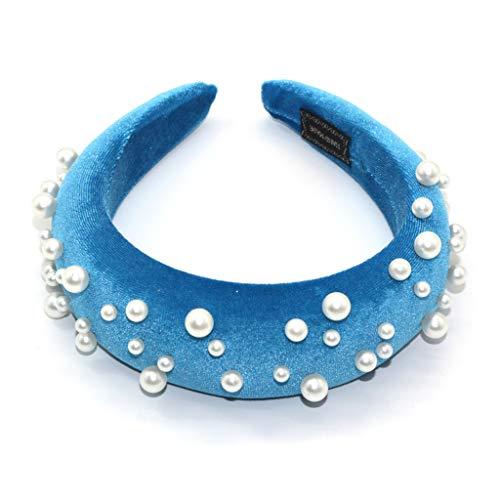 e Dicke Schwamm Stirnband Frauen Samt Einfarbig Breite Haarband Schmuck Unregelmäßige Imitation Perle Perlen Party Kopfschmuck ()