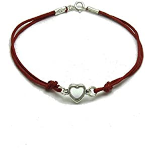 Sterling silber armband herz mit roter string 925 Empress jewellery