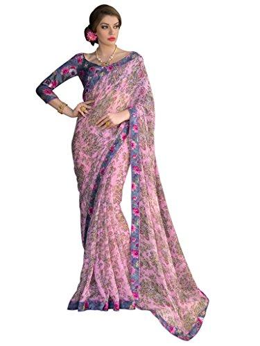Sarees (Vastrang Sarees Women\'s Light Pink Color Beautiful Printed Pure Georgette Designer Party wear printed Saree with Art Silk Print Lace Border & same Border Matching Printed Art Silk Blouse_VS51