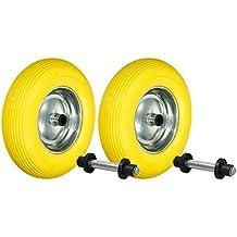ECD Germany 2x Ruedas para carretilla con llanta de acero PU 4.80/4.00-8