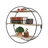 Runde Wandregal Metall Eisen Holz für Bar Wohnzimmer   LOFT Wandbehang Cube Regal für Schlafzimmer als Bücherregal Lagerregal   Floating Unit Frame als Wanddekoration Design Northern Vintage Industrial Stil (3 Tiers)