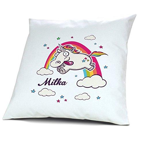 Kopfkissen mit Namen Milka - Motiv Verrücktes Einhorn, 40 cm, 100% Baumwolle, Kuschelkissen, Liebeskissen, Namenskissen, Geschenkidee
