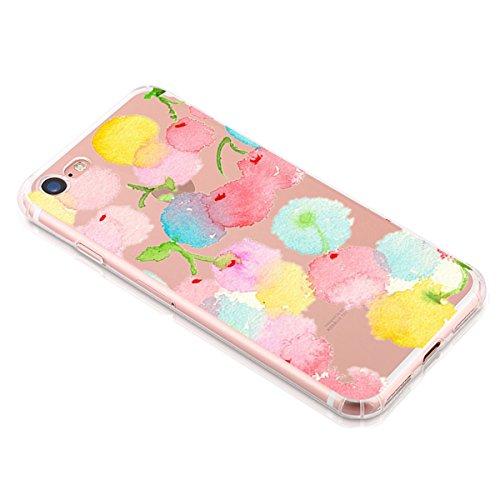 iPhone 7 Custodia coniglio Elefante fiore fragola Animale cover transparente Silicone Case Pacyer® TPU Protettivo Skin Shell Per apple iPhone 7 4.7 cover Ciliegia