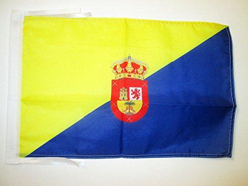 AZ FLAG BANDERA de GRAN CANARIA 45x30cm - BANDERINA ISLAS CANARIAS - LAS PALMAS 30 x 45 cm cordeles