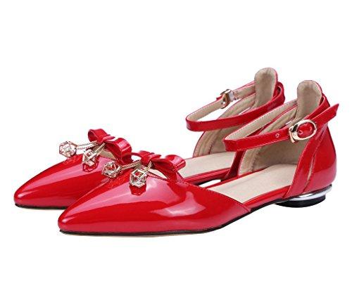Guoar - Scarpe con cinturino alla caviglia Donna Rosso (rosso)