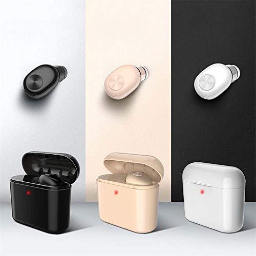 ETH Drahtloser Bluetooth-Einzelohr-Kopfhörer Mini Invisible with Charging Box Langer Bereitschaftssport, Der Bluetooth-Kopfhörer Fährt intelligent (Color : White)