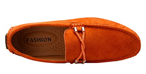 Yaer Herren Halbschuhe Wildleder Mokassin Slipper Confort Bootsschuh aus Leder Orange (Modisch)