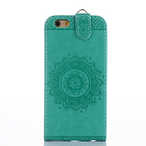 JAWSEU Coque Etui pour iPhone 6/6S 4.7,iPhone 6 Leather Case with Strap,iPhone 6S Etui en Cuir Folio Flip Wallet Cover Case,2017 Neuf Style Femme Homme Up and Down Unlock Holster Rabat Portefeuille ét vert