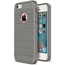 iPhone SE 5SE 5 5S Funda Caseforyou® Carbon Fiber Pattern Ultra Slim Fit Soft TPU Back Case Cover Protector Shell, Grey