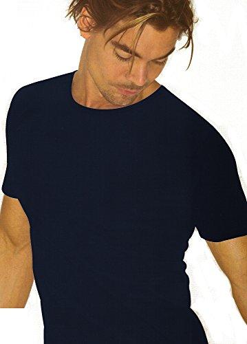 3 t-shirt girocollo uomo filo di scozia GARDA art.0037 100% cotone blu o nero