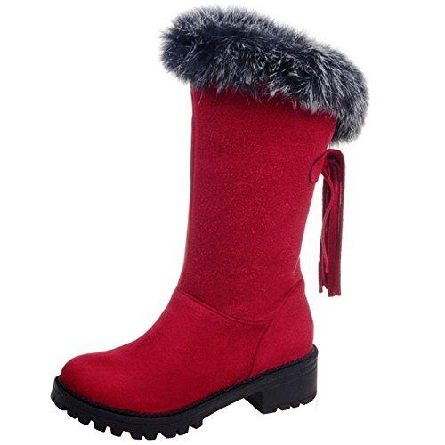 Calcanhar Stiefell Mulheres Inverno Eixo Pele Do Bloco Metade Neve Sintética Taoffen Quente Vermelha xAwqfA4Y