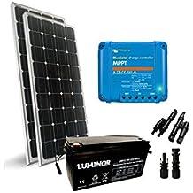 PuntoEnergia Italia - Kit solaire Pro2 200W 12V Panneau Mono Regulateur de Charge  15A Batterie 120Ah 08e184443bd0