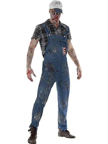Smiffys, Herren Zombie Hinterwäldler Kostüm, Latzhose mit angebrachten Latex Rippen, Oberteil und Baseball Kappe, Größe: M, (Zombie Kostüm Rippen)