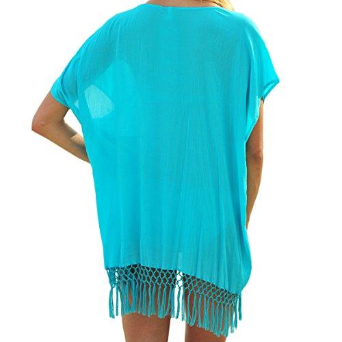Damen Kurzarm Rundkragen Low-Cut Loose Sommer 2017 Quaste Spleiß Elegant Boho Kleid Beachwear Freizeitkleid Minikleid Strandkleider Chiffonkleid Blau