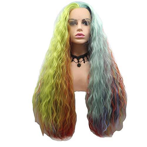 Wig Heiße, Vordere Spitze, Große Farbe, Regenbogenfarbene Kleine Lockenperücke Mit Pony Für Cosplay-Kostüm Oder Alltag