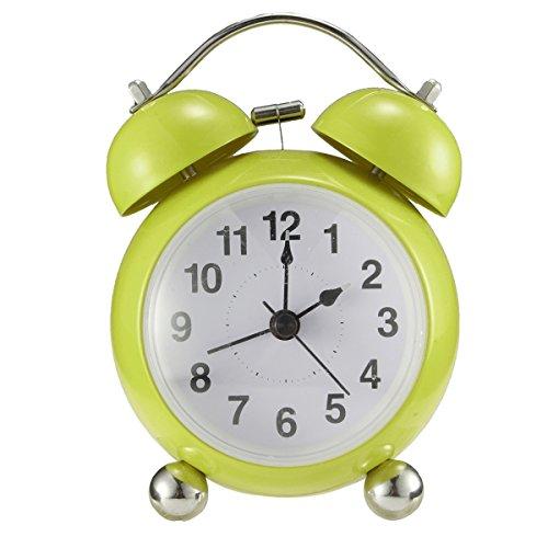Glockenwecker,Drillpro 4'' Retro Doppelglockenwecker mit Nachtlicht Kinder Wecker,lauter Alarm, leise, schleichendes Uhrwerk Quarzlaufwerk,Mini Analog Alarm Wecker Grün