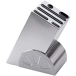 Bloc à Couteaux en Acier Inoxydable Porte-Couteaux de Cuisine Support Couteaux Bois Pour 6 Couteaux Organisation de Cuisine pour Rangement de Couteaux