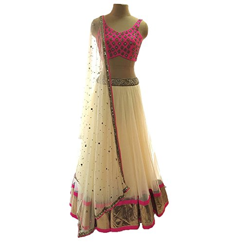 Gopinath Collections Banglori Silk & Net Embroidered Semi-Stitched Lehenga Choli Material
