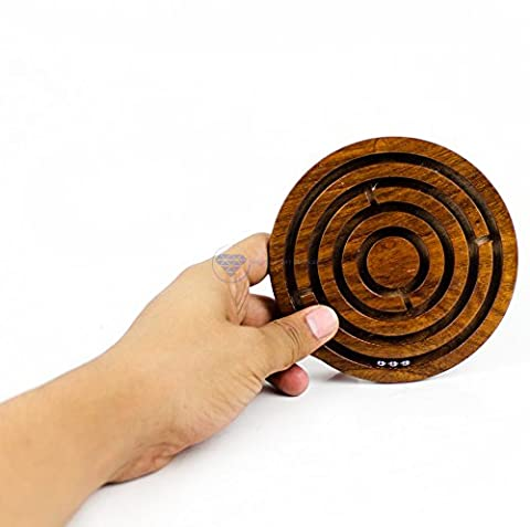 Ball In A Maze Puzzle Board Game | Premium Hand Crafted Wooden Labyrinth Kid's Table Game | Wooden Toys & Craft | Nagina International (Medium)