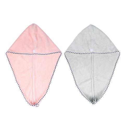 Frcolor 2pcs serviette en microfibre à cheveux à séchage rapide, enveloppe de turban pour douche spa (couleur mélangée)