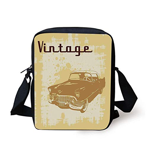 LULABE Cars,Nostalgic Car on Distressed Faded Grunge Color Background Elements Funky Artwork,Yellow Brown Print Kids Crossbody Messenger Bag Purse - Distressed Hobo