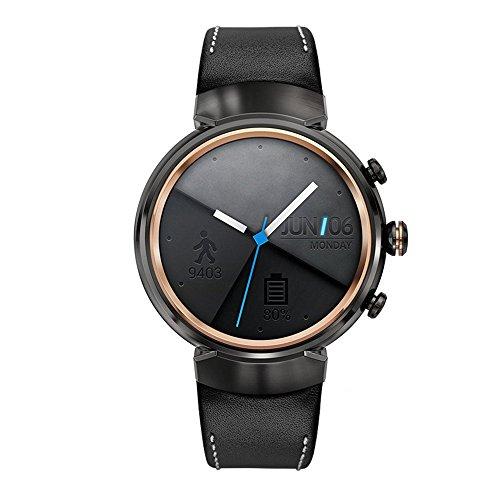 Kartice for Asus Zenwatch 3 Armband,Rindsleder Leder Lederarmband mit Edelstahlschließe für Asus Zenwatch 3 WI503Q Schwarz