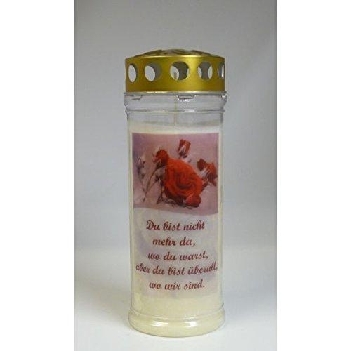Grablichtkerze Rose, Du bist nicht mehr ... Brenndauer ca. 7 Tage, 20x7cm - 3741 - Grabkerze mit Motiv und Spruch - Qualitäts-Grablicht mit Deckel Kerzen Mit Deckel
