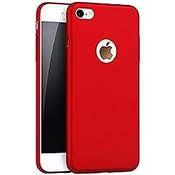 Mosoris Coque iPhone 6S PC Matière Coque Protection Souple Housse Etui Solide PC Plastique Cover pour iPhone 6 / 6S Très Mince Absorption de Choc Bumper Crystal Flexible Rigide Couverture, Rouge