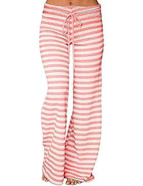 Honghu Mujeres con cord¨®n Pantalones sueltos de rayas largas con estampado Pantalones anchos de yoga Leg Palazzo...