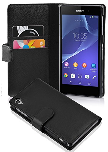 Cadorabo Hülle für Sony Xperia Z2 Hülle in Handyhülle mit Kartenfach aus Struktriertem Kunstleder Case Cover Schutzhülle Etui Tasche Book Klapp Style Oxid Schwarz