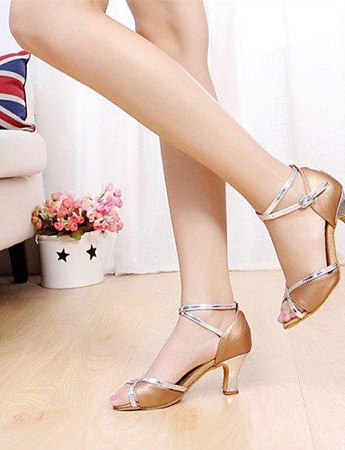 La mode moderne Sandales femme Chaussures de danse du ventre/latin/Salsa/Samba/talon aiguille Satin synthétique noir/bleu/rose/rouge/Multi-couleur/Leopard US5/EU35/UK3/CN34