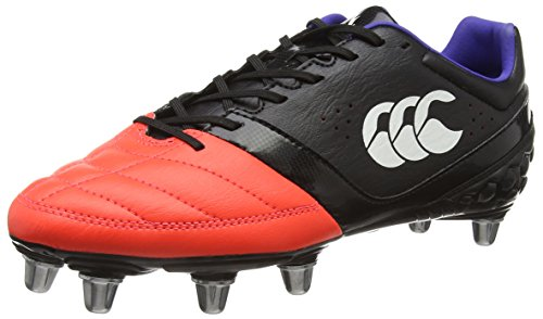 Canterbury Phoenix Club 8 Stud, Chaussures de Rugby Homme, Noir (98A Black/Firecracker), 43 EU