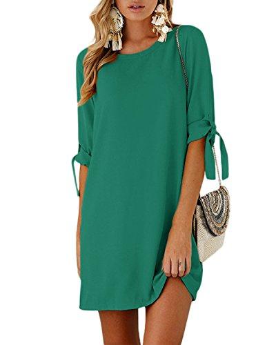 YOINS Sommerkleid Damen Tshirt Kleid Rundhals Kurzarm Minikleid Kleider Langes Shirt Lose Tunika mit Bowknot Ärmeln Grün EU36-38(Kleiner als Reguläre Größe) (Ausgefallene Kleider Für Kleine Mädchen)