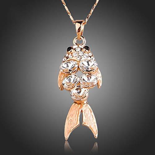 WDXDP Halskette Agile Fish Rose Gold Farbe Clear Crystal Anhänger Halskette Stilvolle und Elegante Frauen Schmuck Agile Stereo
